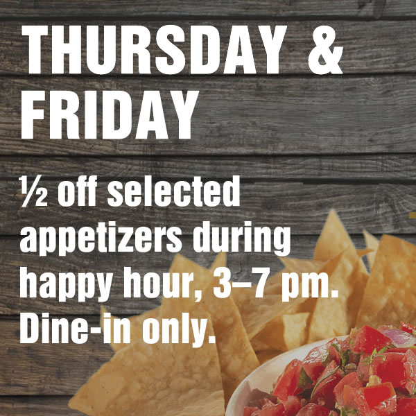 Shooters Thursday and Friday Special - 1/2 off selected appetizers